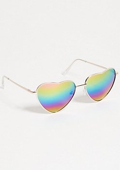Gold Rainbow Mirrored Heart Eye Sunglasses