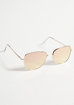 Rose Gold Mirrored Flat Aviator Sunglasses