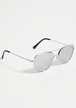 Silver Flat Mirrored Aviator Sunglasses