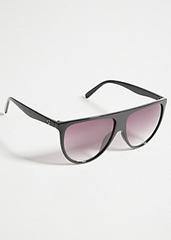 Black Round Smoky Lens Flat Top Sunglasses