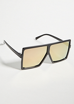 Black Rose Gold Lens Flat Top Sunglasses
