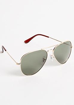 Gold Smoky Aviator Sunglasses