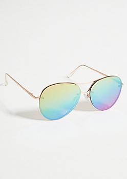 Rainbow Mirrored Frameless Sunglasses