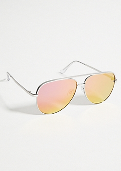 Pink Mirrored Silver Oversized Aviator Sunglasses