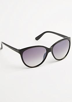 Black Cat Eye Round Sunglasses