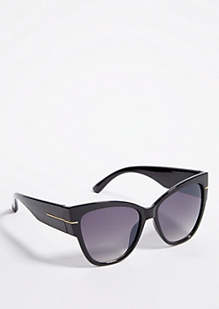 Black Chunky Cat Eye Smoky Sunglasses