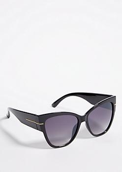 Black Chunky Cat Eye Smoky Sunglasses
