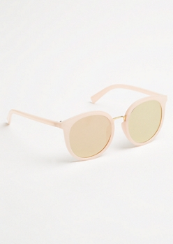 Pink Mirrored Lens Round Sunglasses