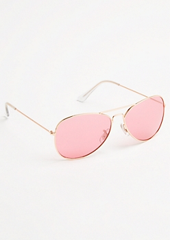 Pink and Rose Gold Frame Aviator Sunglasses