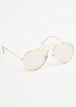 Rainbow and Gold Frame Aviator Sunglasses