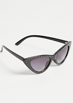 Black Stud Skinny Cat Eye Sunglasses