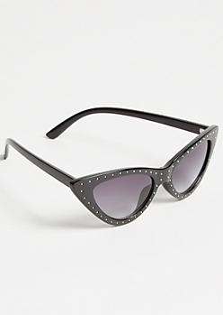 Black Stud Skinny Cat Eye Sunglasses