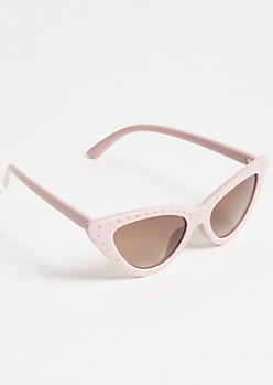 Pink Stud Skinny Cat Eye Sunglasses