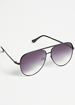 Black Smoky Gradient Aviator Sunglasses