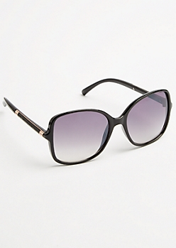Black Faux Snakeskin Sunglasses