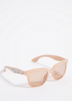 Light Pink Chunky Retro Glitter Sunglasses