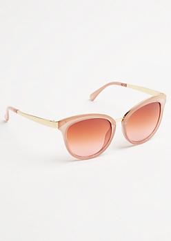 Pink Metal Inlay Round Sunglasses