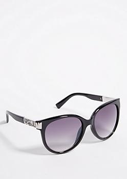 Black Round Glitter Accent Sunglasses