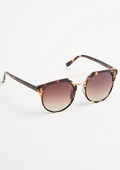 Tortoiseshell Brow Bridge Square Lens Sunglasses