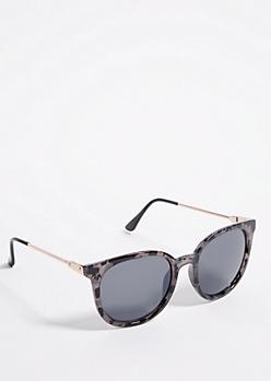 Black Marble Metal Side Retro Sunglasses