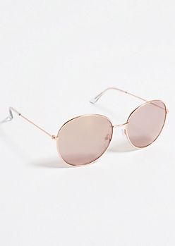 Rose Gold Metallic Round Sunglasses