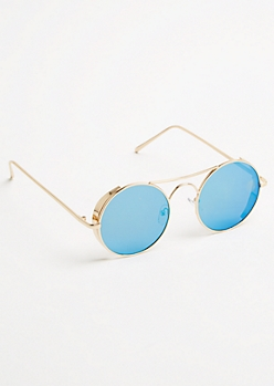 Blue Round Mirrored Lens Sunglasses
