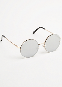 Silver Round Mirrored Lens Sunglasses