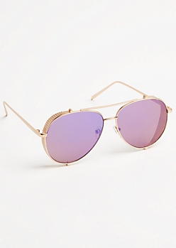 Purple and Rose Gold Frame Aviator Sunglasses