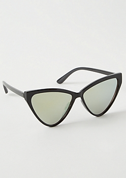 Black Mirrored Oversized Cat Eye Sunglasses