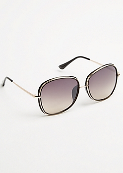 Black Metal Inlay Square Sunglasses