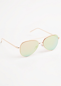 Rose Gold Mirrored Lens Aviators