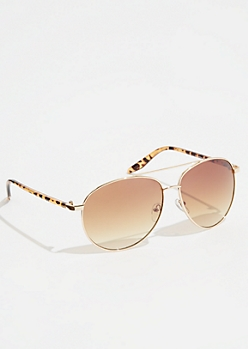 Tortoiseshell Side Aviator Sunglasses