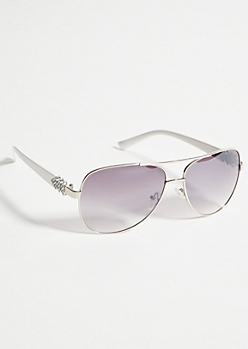 White Bling Smoky Lens Aviator Sunglasses