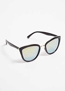 Black Matte Gold Trim Cat Eye Sunglasses