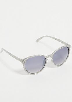 Silver Glitter Round Sunglasses