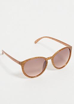 Bronze Glitter Round Sunglasses