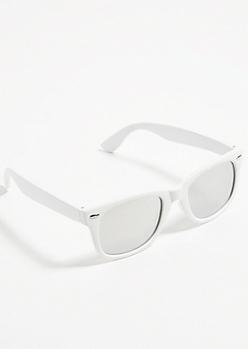 White Mirrored Lens Square Sunglasses