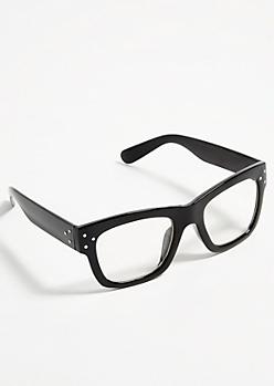 Black Chunky Frame Square Readers