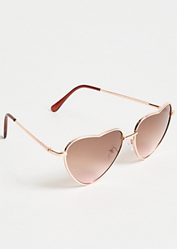 Rose Gold Heart Eye Aviator Sunglasses