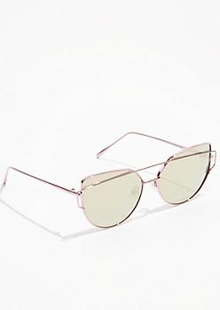 Rose Gold Metal Frame Brow Bar Cat Eye Sunglasses