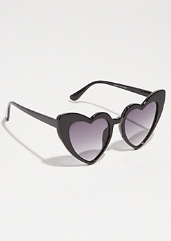 Black Cat Eye Heart Sunglasses
