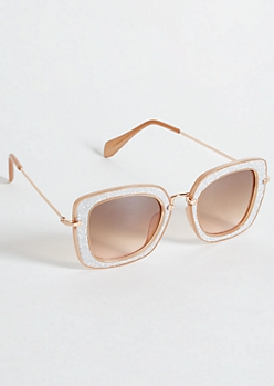 Rose Gold Glitter Square Frame Sunglasses