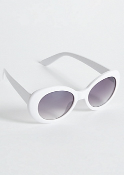 White Oval Retro Sunglasses
