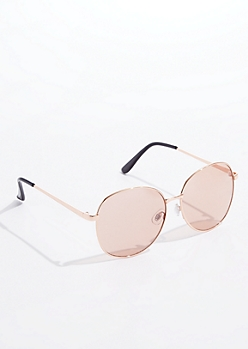 Rose Gold Large Round Sunglasses