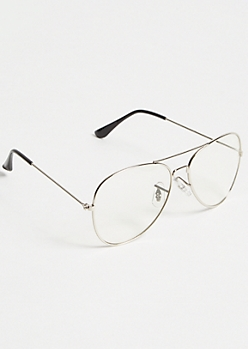 Silver Clear Aviator Readers