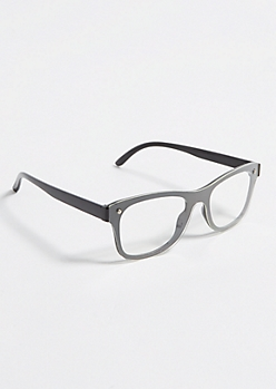 Black Overlay Lens Square Readers