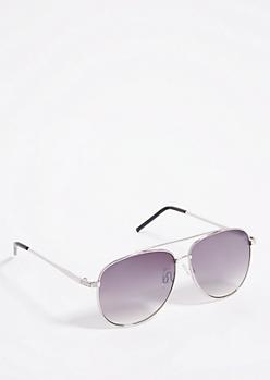 Silver Rhinestone Smoky Aviator Sunglasses
