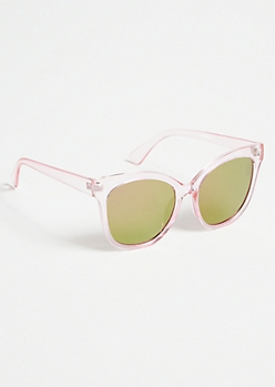 Clear Pink Mirrored Oversized Cat Eye Sunglasses