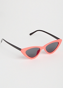 Neon Orange Micro Cat Eye Sunglasses