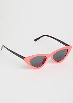 Neon Orange Micro Cat Eye Sunglasses